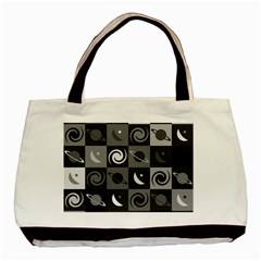 Space Month Saturnus Planet Star Hole Black White Grey Basic Tote Bag (two Sides) by AnjaniArt