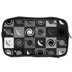Space Month Saturnus Planet Star Hole Black White Grey Toiletries Bags 2 Side by AnjaniArt