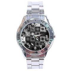 Space Month Saturnus Planet Star Hole Black White Grey Stainless Steel Analogue Watch by AnjaniArt