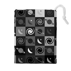 Space Month Saturnus Planet Star Hole Black White Grey Drawstring Pouches (extra Large) by AnjaniArt