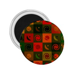 Space Month Saturnus Planet Star Hole Black White Multicolour Orange 2 25  Magnets by AnjaniArt