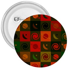 Space Month Saturnus Planet Star Hole Black White Multicolour Orange 3  Buttons by AnjaniArt