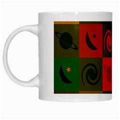 Space Month Saturnus Planet Star Hole Black White Multicolour Orange White Mugs by AnjaniArt