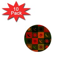 Space Month Saturnus Planet Star Hole Black White Multicolour Orange 1  Mini Buttons (10 Pack)  by AnjaniArt