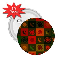 Space Month Saturnus Planet Star Hole Black White Multicolour Orange 2 25  Buttons (10 Pack)  by AnjaniArt