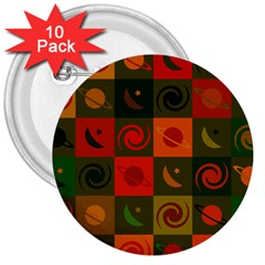 Space Month Saturnus Planet Star Hole Black White Multicolour Orange 3  Buttons (10 Pack)  by AnjaniArt