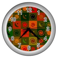 Space Month Saturnus Planet Star Hole Black White Multicolour Orange Wall Clocks (silver)  by AnjaniArt