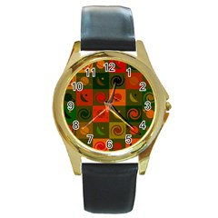 Space Month Saturnus Planet Star Hole Black White Multicolour Orange Round Gold Metal Watch by AnjaniArt