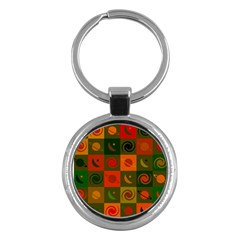Space Month Saturnus Planet Star Hole Black White Multicolour Orange Key Chains (round)  by AnjaniArt