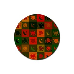 Space Month Saturnus Planet Star Hole Black White Multicolour Orange Rubber Coaster (round)  by AnjaniArt