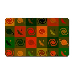 Space Month Saturnus Planet Star Hole Black White Multicolour Orange Magnet (rectangular) by AnjaniArt