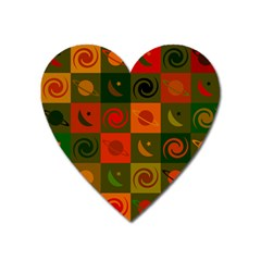 Space Month Saturnus Planet Star Hole Black White Multicolour Orange Heart Magnet by AnjaniArt