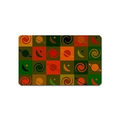 Space Month Saturnus Planet Star Hole Black White Multicolour Orange Magnet (name Card) by AnjaniArt