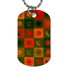 Space Month Saturnus Planet Star Hole Black White Multicolour Orange Dog Tag (two Sides) by AnjaniArt