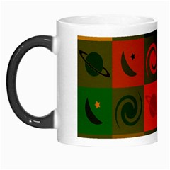 Space Month Saturnus Planet Star Hole Black White Multicolour Orange Morph Mugs by AnjaniArt