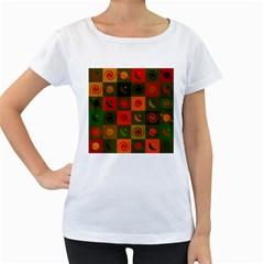Space Month Saturnus Planet Star Hole Black White Multicolour Orange Women s Loose Fit T Shirt (white) by AnjaniArt