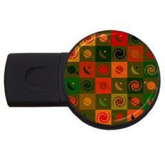 Space Month Saturnus Planet Star Hole Black White Multicolour Orange Usb Flash Drive Round (4 Gb) by AnjaniArt