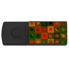 Space Month Saturnus Planet Star Hole Black White Multicolour Orange Usb Flash Drive Rectangular (4 Gb) by AnjaniArt