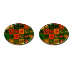 Space Month Saturnus Planet Star Hole Black White Multicolour Orange Cufflinks (oval) by AnjaniArt