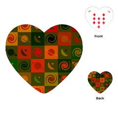 Space Month Saturnus Planet Star Hole Black White Multicolour Orange Playing Cards (heart)  by AnjaniArt