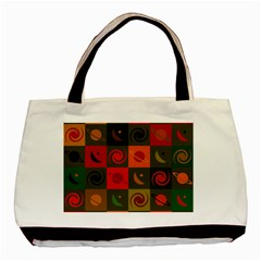 Space Month Saturnus Planet Star Hole Black White Multicolour Orange Basic Tote Bag by AnjaniArt