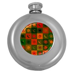 Space Month Saturnus Planet Star Hole Black White Multicolour Orange Round Hip Flask (5 Oz) by AnjaniArt