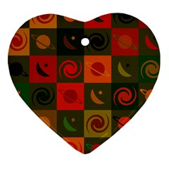 Space Month Saturnus Planet Star Hole Black White Multicolour Orange Heart Ornament (two Sides) by AnjaniArt