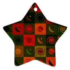 Space Month Saturnus Planet Star Hole Black White Multicolour Orange Star Ornament (two Sides) by AnjaniArt