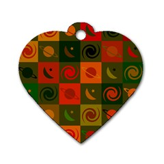Space Month Saturnus Planet Star Hole Black White Multicolour Orange Dog Tag Heart (one Side) by AnjaniArt