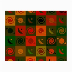 Space Month Saturnus Planet Star Hole Black White Multicolour Orange Small Glasses Cloth (2 Side) by AnjaniArt