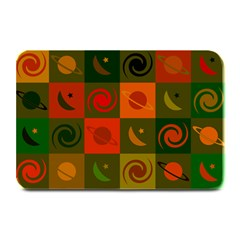 Space Month Saturnus Planet Star Hole Black White Multicolour Orange Plate Mats by AnjaniArt