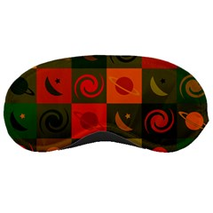 Space Month Saturnus Planet Star Hole Black White Multicolour Orange Sleeping Masks by AnjaniArt