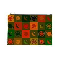 Space Month Saturnus Planet Star Hole Black White Multicolour Orange Cosmetic Bag (large)  by AnjaniArt