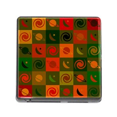 Space Month Saturnus Planet Star Hole Black White Multicolour Orange Memory Card Reader (square) by AnjaniArt