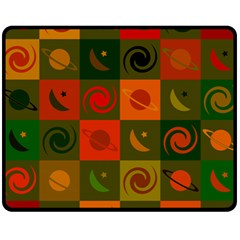 Space Month Saturnus Planet Star Hole Black White Multicolour Orange Fleece Blanket (medium)  by AnjaniArt