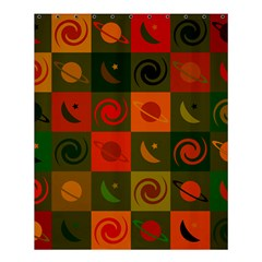 Space Month Saturnus Planet Star Hole Black White Multicolour Orange Shower Curtain 60  X 72  (medium)  by AnjaniArt