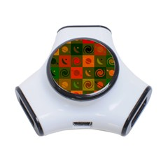 Space Month Saturnus Planet Star Hole Black White Multicolour Orange 3 Port Usb Hub by AnjaniArt