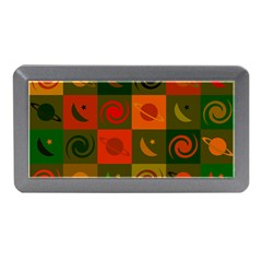 Space Month Saturnus Planet Star Hole Black White Multicolour Orange Memory Card Reader (mini) by AnjaniArt