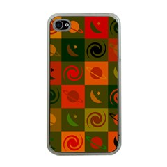 Space Month Saturnus Planet Star Hole Black White Multicolour Orange Apple Iphone 4 Case (clear) by AnjaniArt