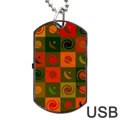 Space Month Saturnus Planet Star Hole Black White Multicolour Orange Dog Tag Usb Flash (one Side) by AnjaniArt