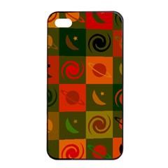 Space Month Saturnus Planet Star Hole Black White Multicolour Orange Apple Iphone 4/4s Seamless Case (black) by AnjaniArt