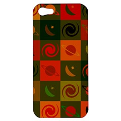 Space Month Saturnus Planet Star Hole Black White Multicolour Orange Apple Iphone 5 Hardshell Case by AnjaniArt