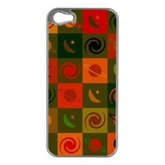 Space Month Saturnus Planet Star Hole Black White Multicolour Orange Apple Iphone 5 Case (silver) by AnjaniArt