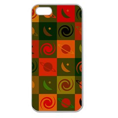 Space Month Saturnus Planet Star Hole Black White Multicolour Orange Apple Seamless Iphone 5 Case (clear) by AnjaniArt