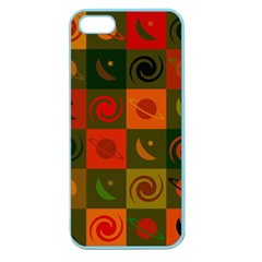 Space Month Saturnus Planet Star Hole Black White Multicolour Orange Apple Seamless Iphone 5 Case (color) by AnjaniArt