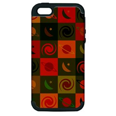 Space Month Saturnus Planet Star Hole Black White Multicolour Orange Apple Iphone 5 Hardshell Case (pc+silicone) by AnjaniArt