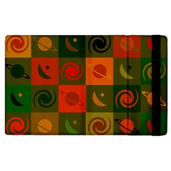 Space Month Saturnus Planet Star Hole Black White Multicolour Orange Apple Ipad 2 Flip Case by AnjaniArt