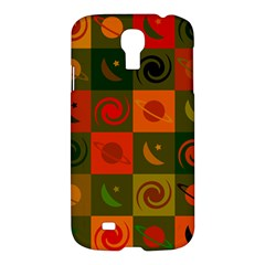 Space Month Saturnus Planet Star Hole Black White Multicolour Orange Samsung Galaxy S4 I9500/i9505 Hardshell Case by AnjaniArt
