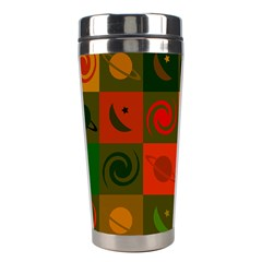 Space Month Saturnus Planet Star Hole Black White Multicolour Orange Stainless Steel Travel Tumblers by AnjaniArt