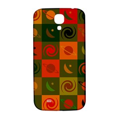 Space Month Saturnus Planet Star Hole Black White Multicolour Orange Samsung Galaxy S4 I9500/i9505  Hardshell Back Case by AnjaniArt